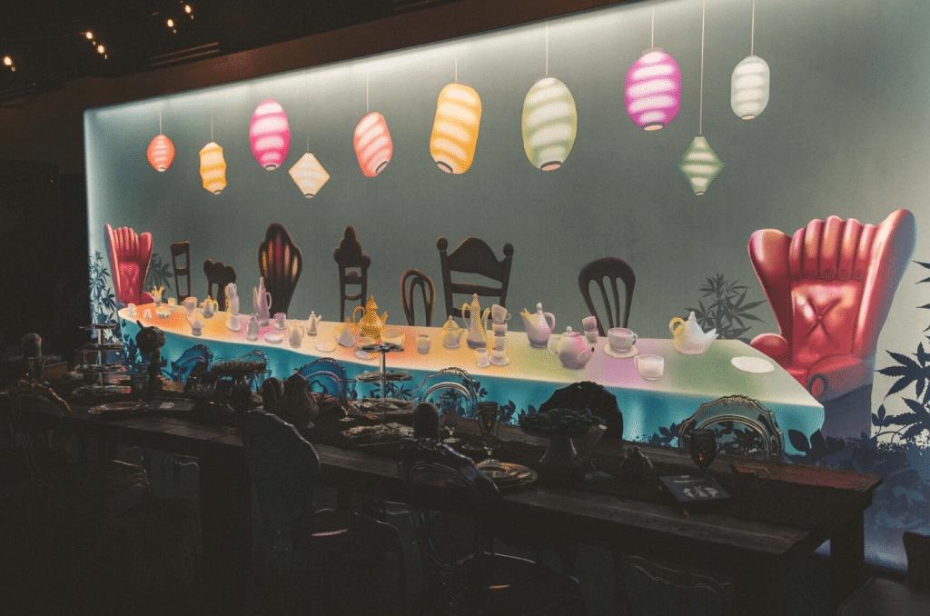 backlit backdrop VIP dinner